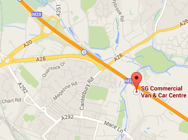 sg commercial van and car centre ashford kent. map image.